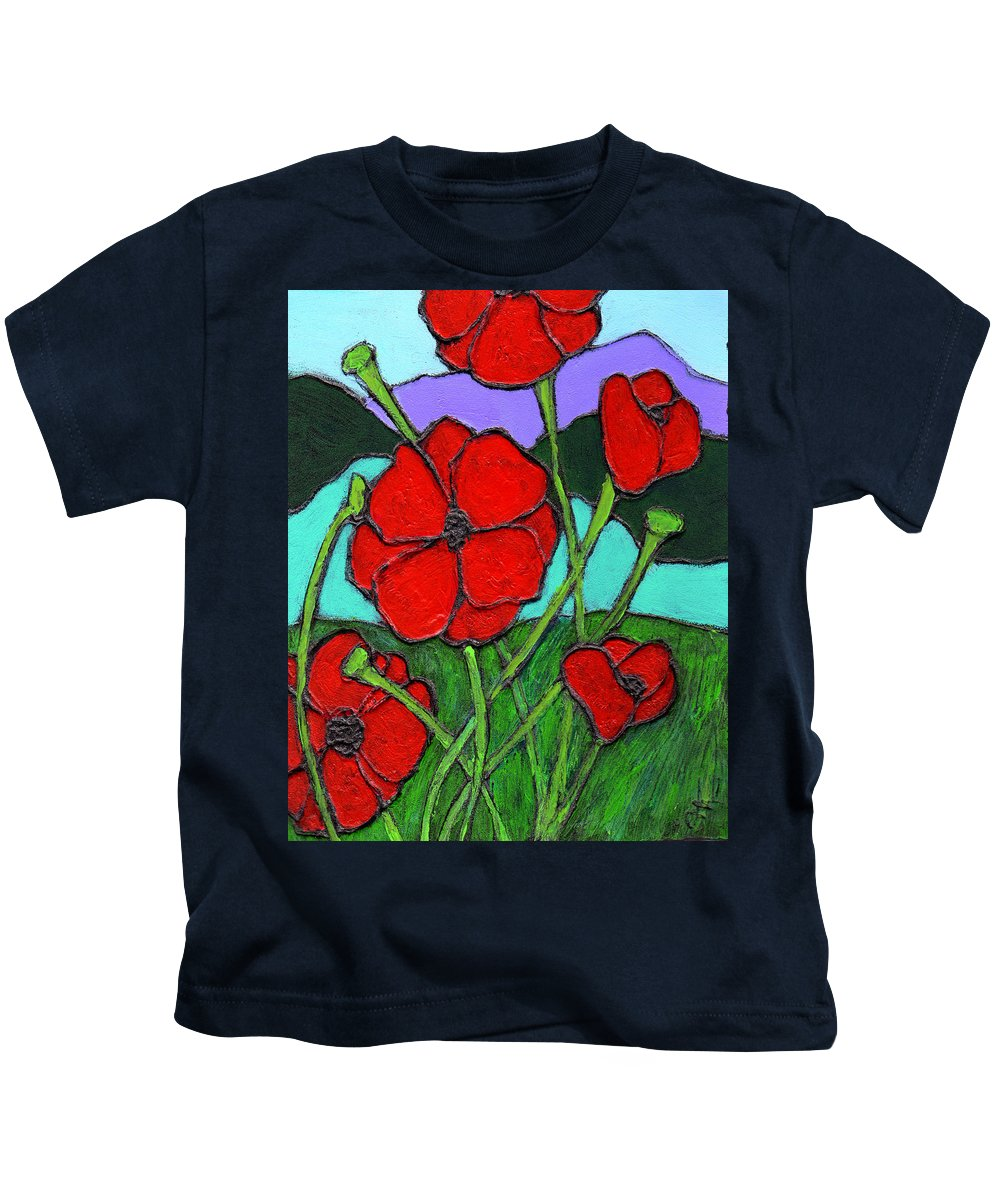 Poppies Kids T-Shirt featuring the painting Looking Up by Wayne Potrafka