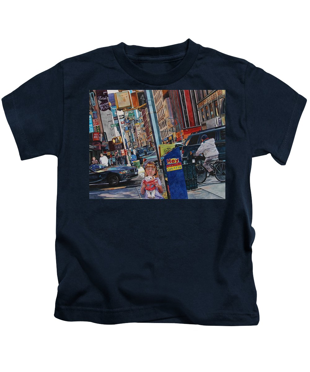 City Kids T-Shirt featuring the painting Lost by Valerie Patterson