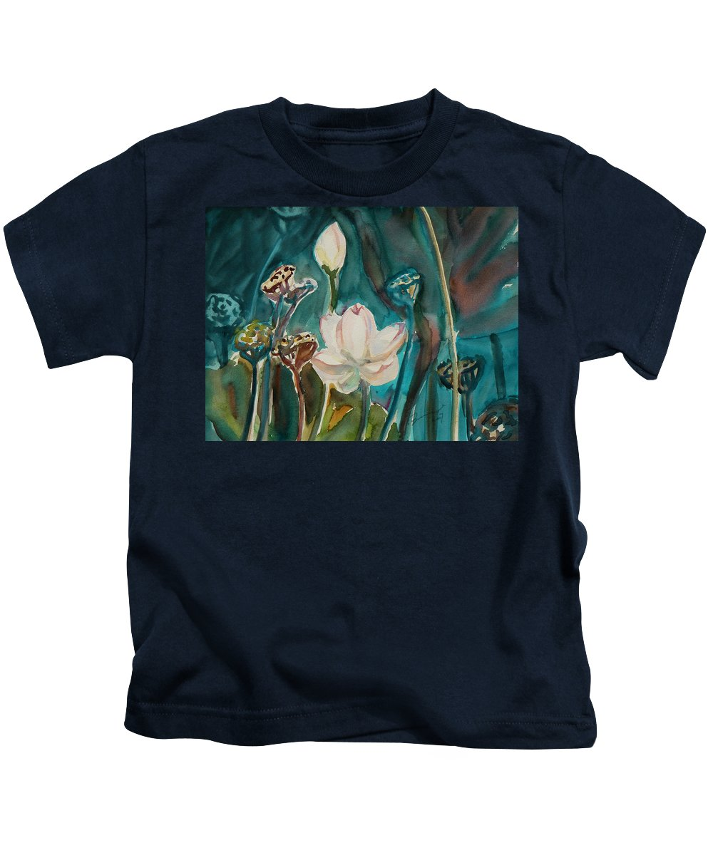 Watercolor Kids T-Shirt featuring the painting Lotus Study I by Xueling Zou