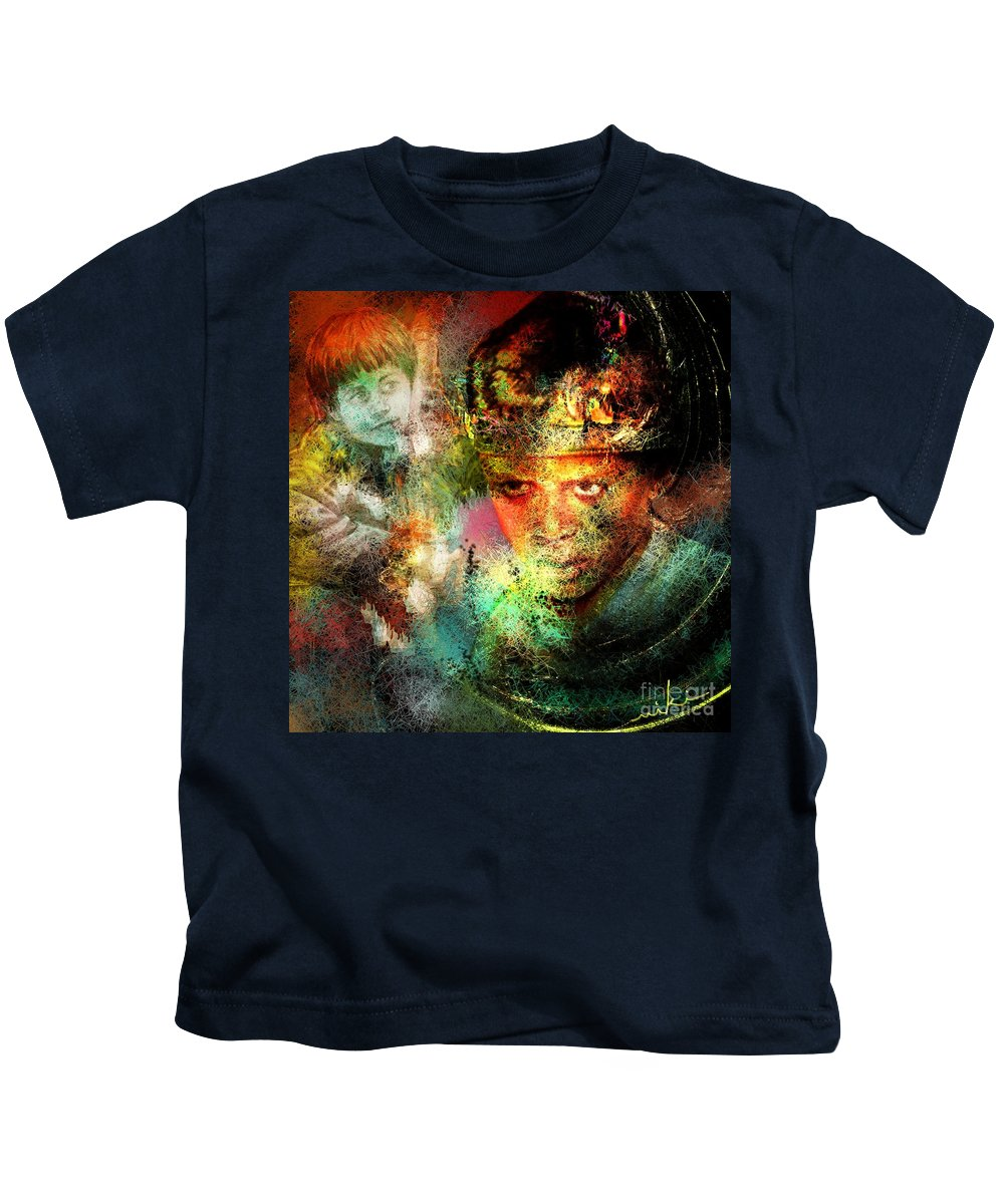 Portrait Kids T-Shirt featuring the painting Love For The Boy King by Miki De Goodaboom