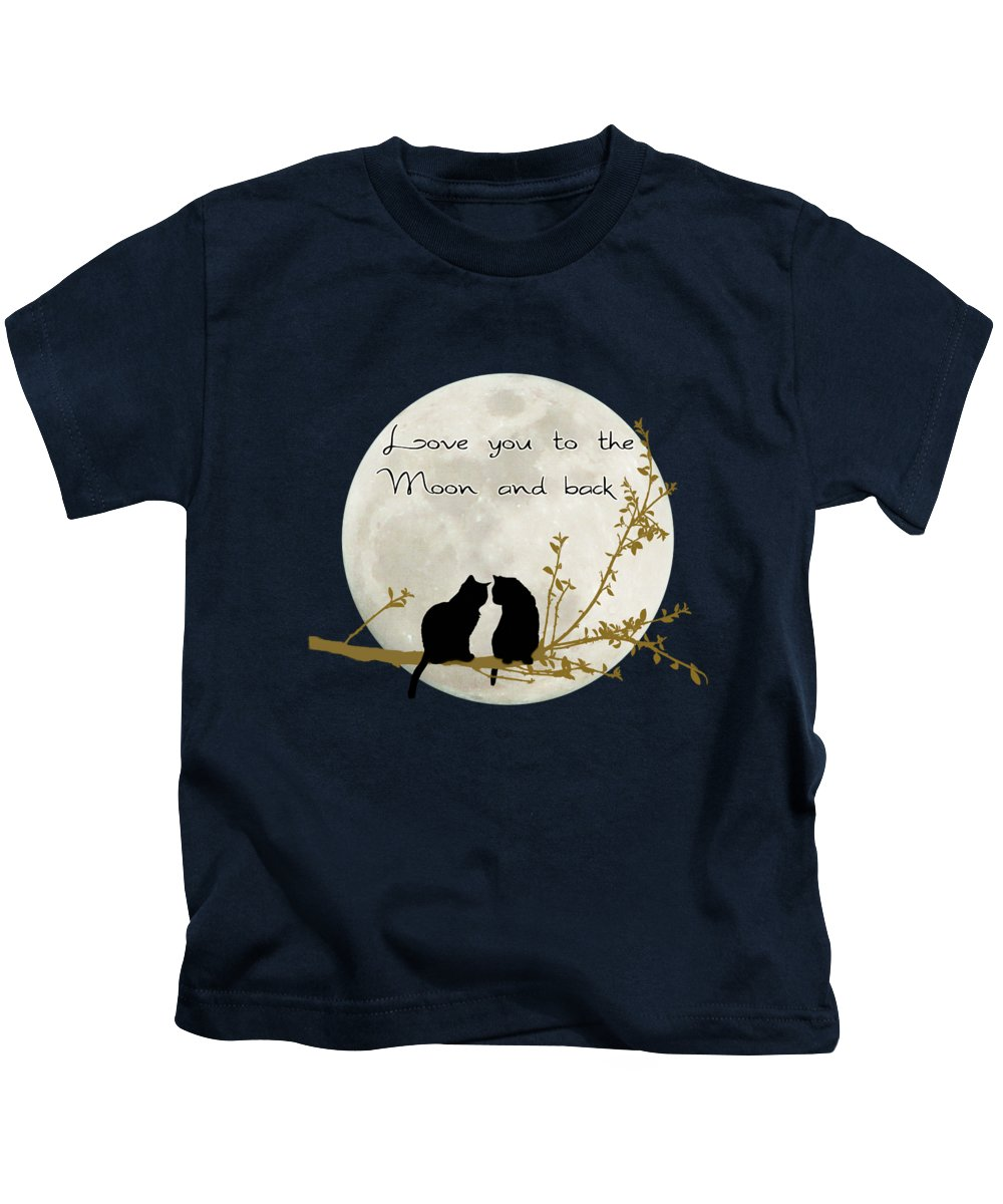Moon Kids T-Shirt featuring the digital art Love You To The Moon And Back by Linda Lees