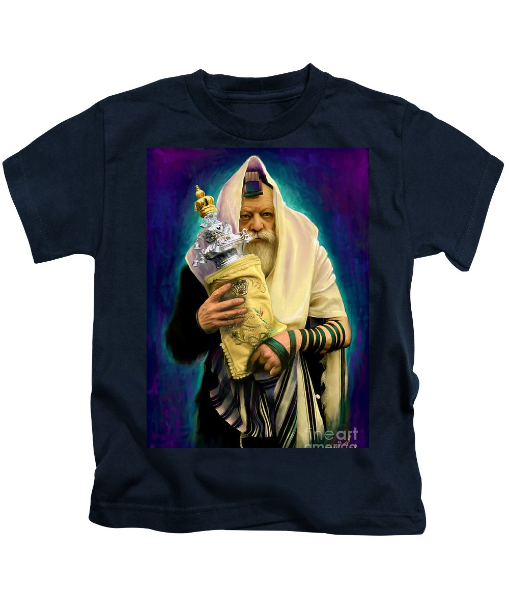Lubavitcher Kids T-Shirt featuring the painting Lubavitcher Rebbe With Torah by Sam Shacked