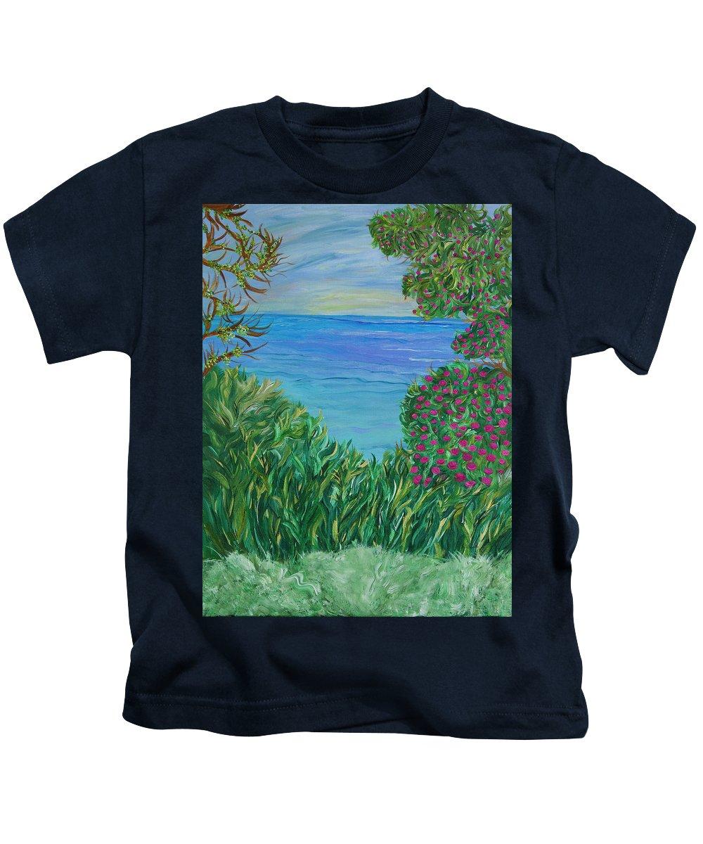 Beach Scene Kids T-Shirt featuring the painting Lush Brush by Sara Credito