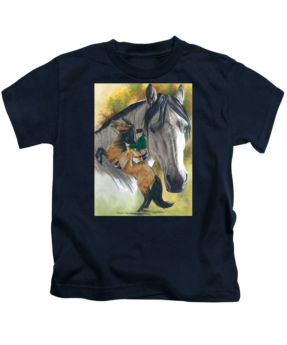 Hoof Stock Kids T-Shirt featuring the mixed media Lusitano by Barbara Keith