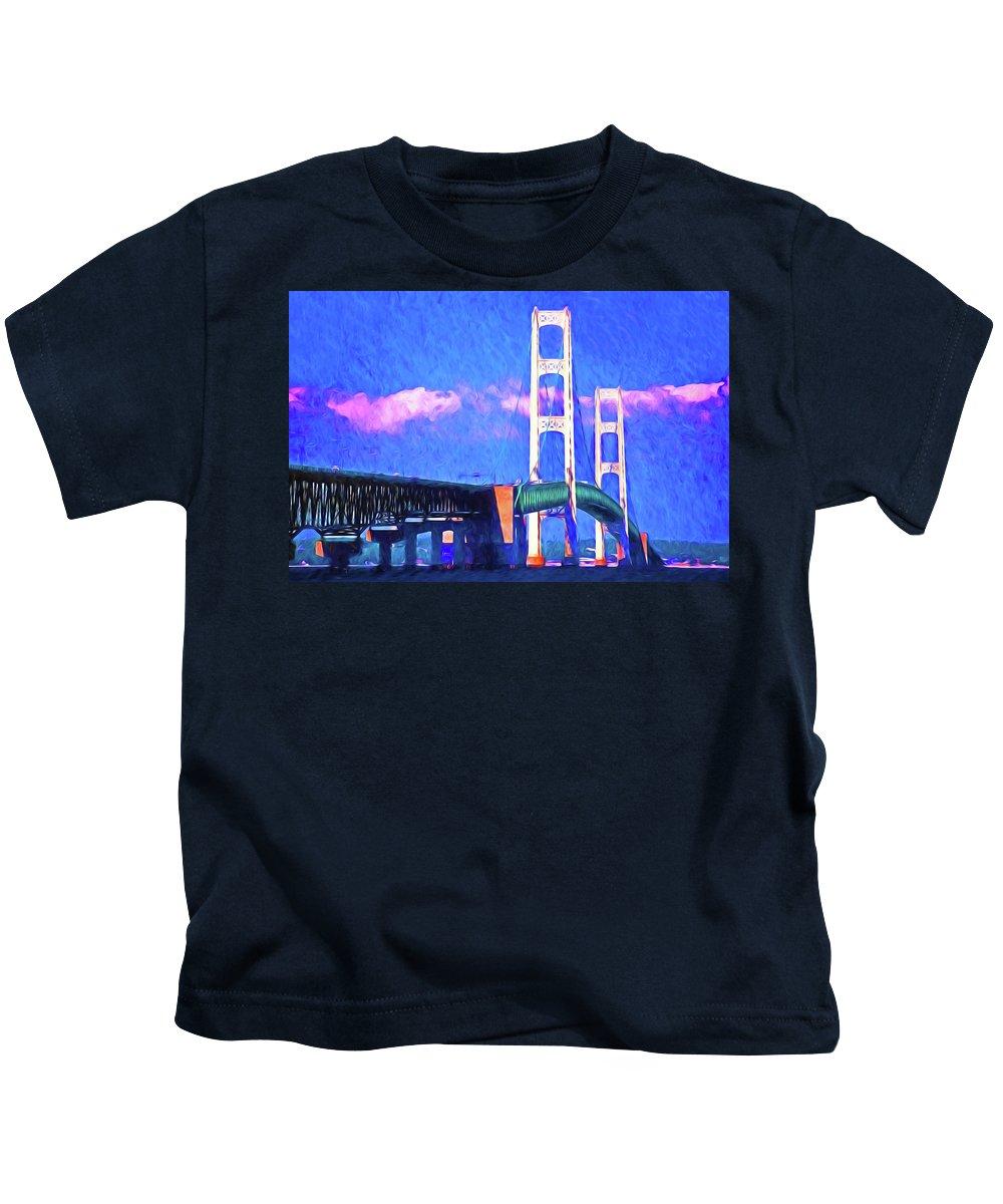 Usa Kids T-Shirt featuring the digital art Mackinac Bridge by Dennis Cox
