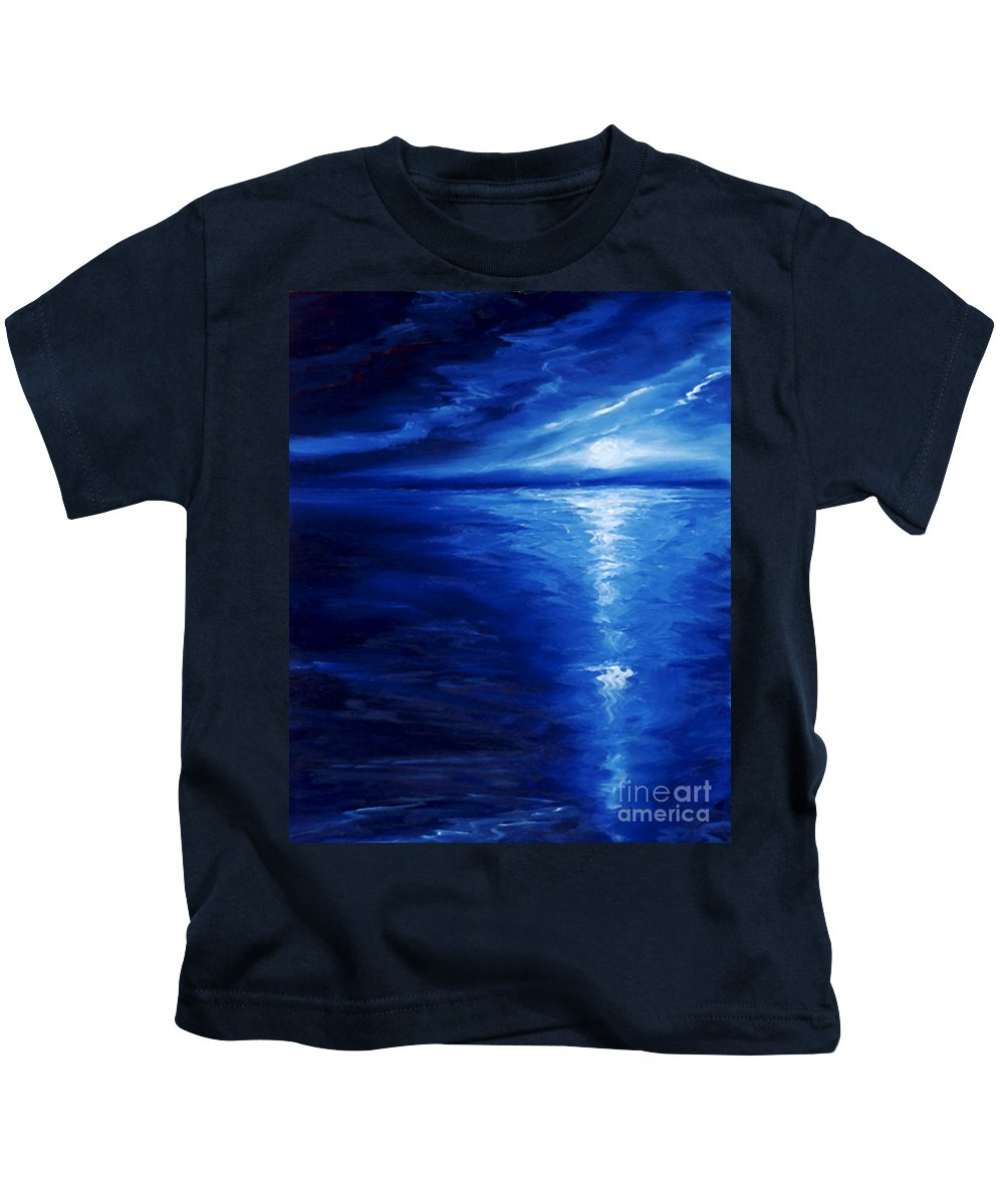 Blue Moon Kids T-Shirt featuring the painting Magical Moonlight by James Christopher Hill
