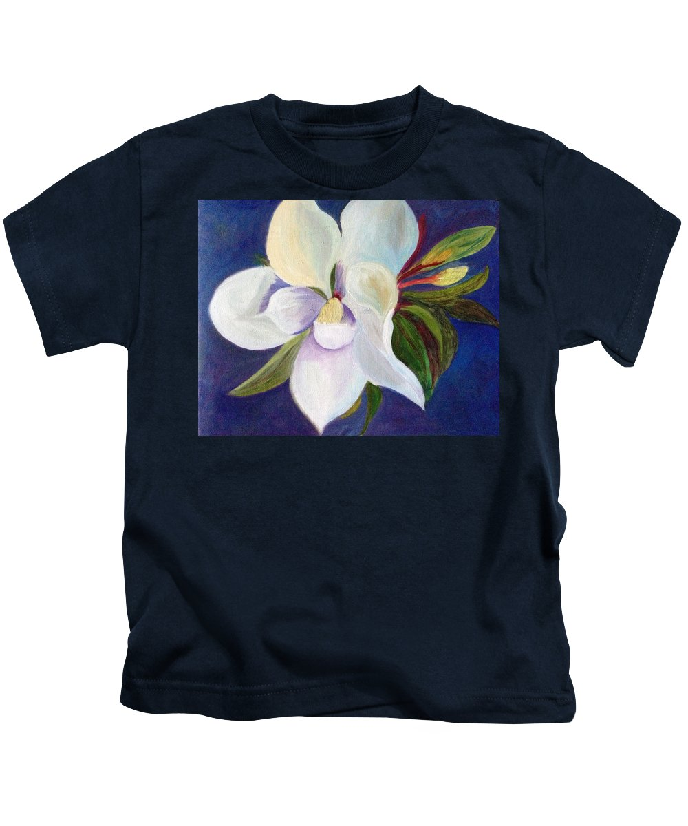 Magnolia Kids T-Shirt featuring the painting Magnolia Painting by Pat Exum