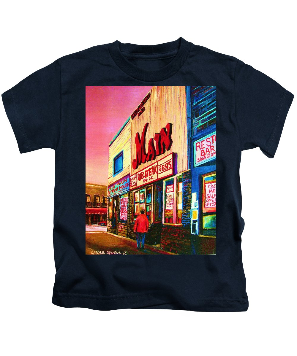 Montreal Kids T-Shirt featuring the painting Main Steakhouse Blvd.st.laurent by Carole Spandau