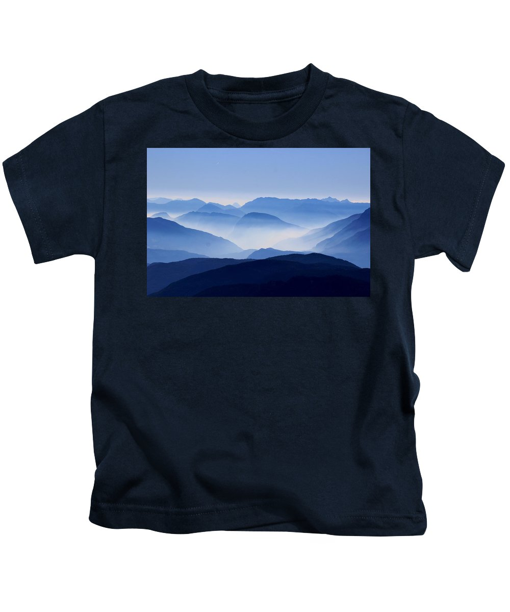 Blue Kids T-Shirt featuring the photograph Majestic Mountains by Happy Home Artistry