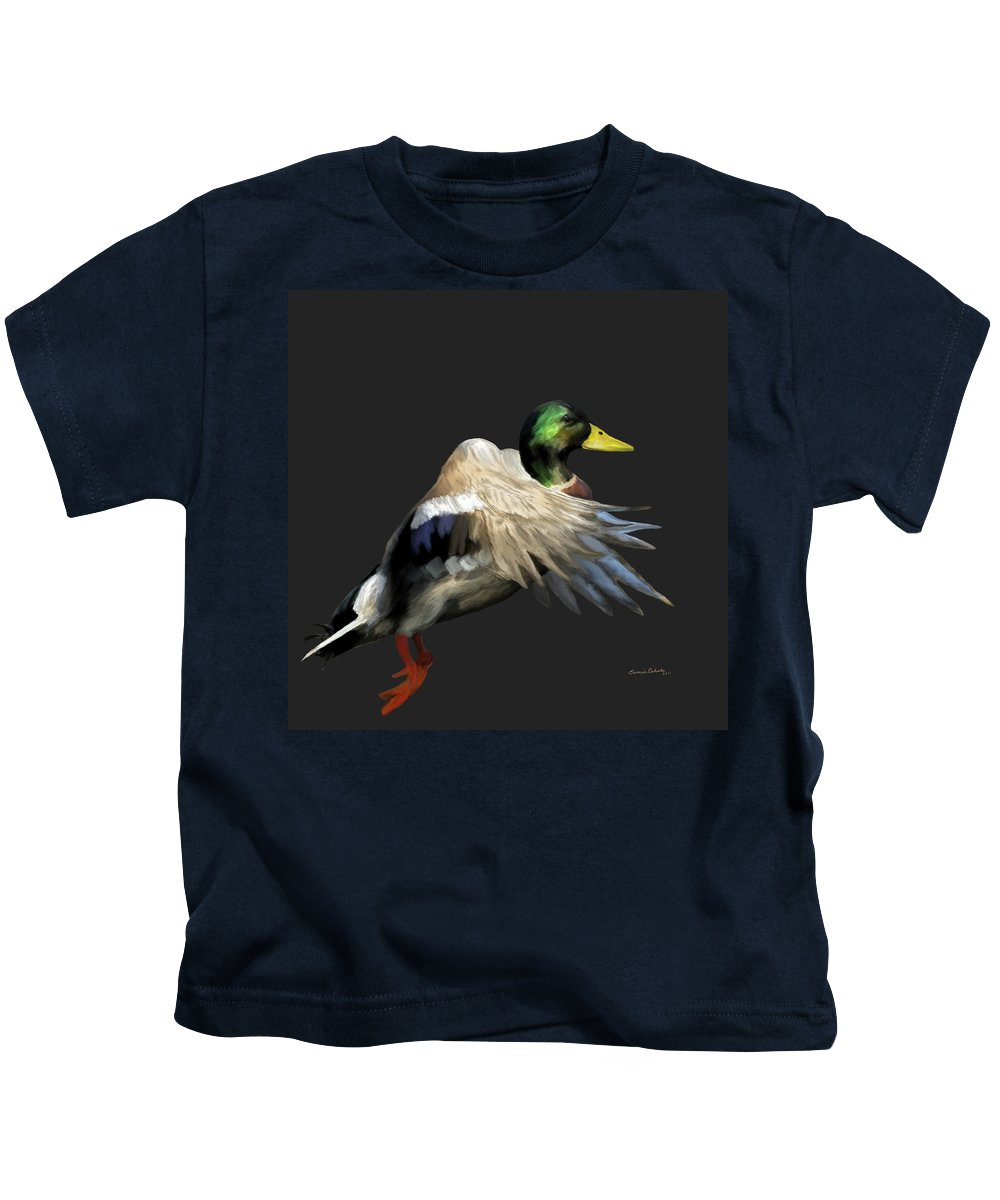 Animals Kids T-Shirt featuring the painting Mallard Freehand 1 by Ernie Echols