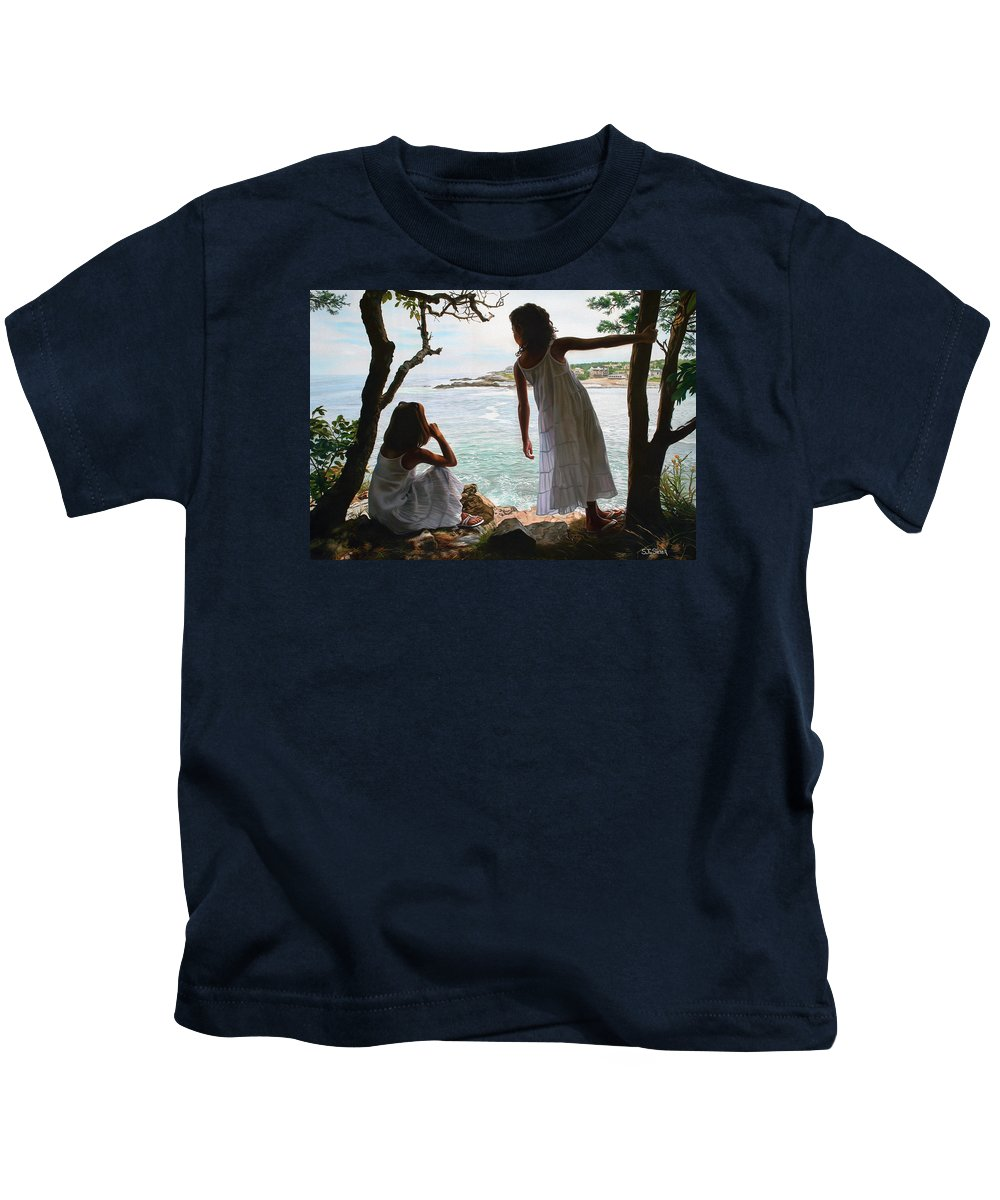 Figurative Kids T-Shirt featuring the painting Marginal Way by Tom Sierak