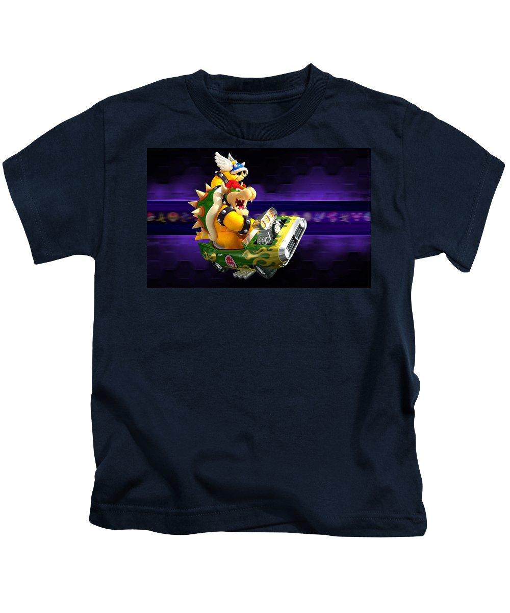 Mario Kart Wii Kids T-Shirt featuring the digital art Mario Kart Wii by Dorothy Binder
