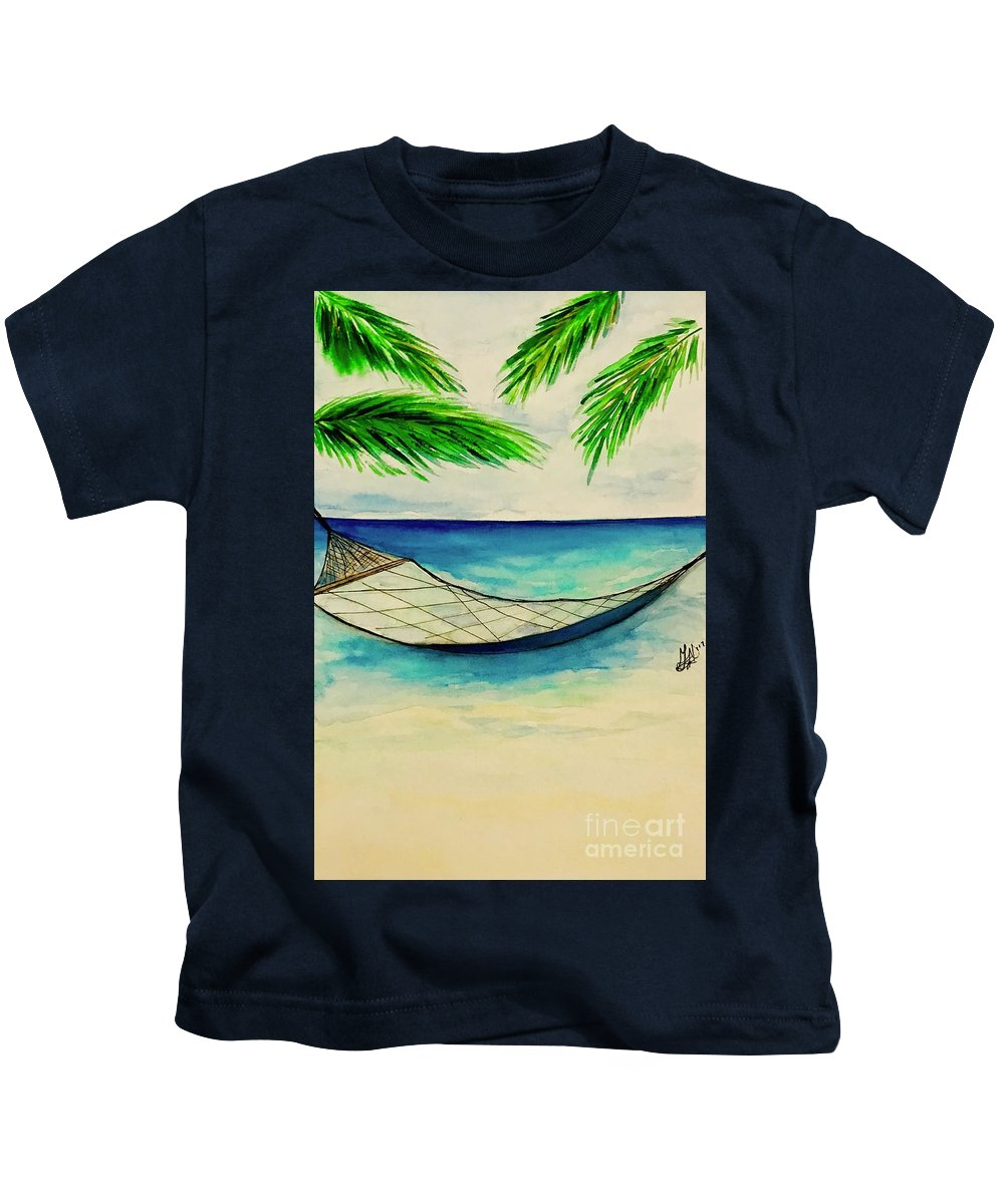 Landscape Kids T-Shirt featuring the painting Marlins Happy Place by Gail Nandlal