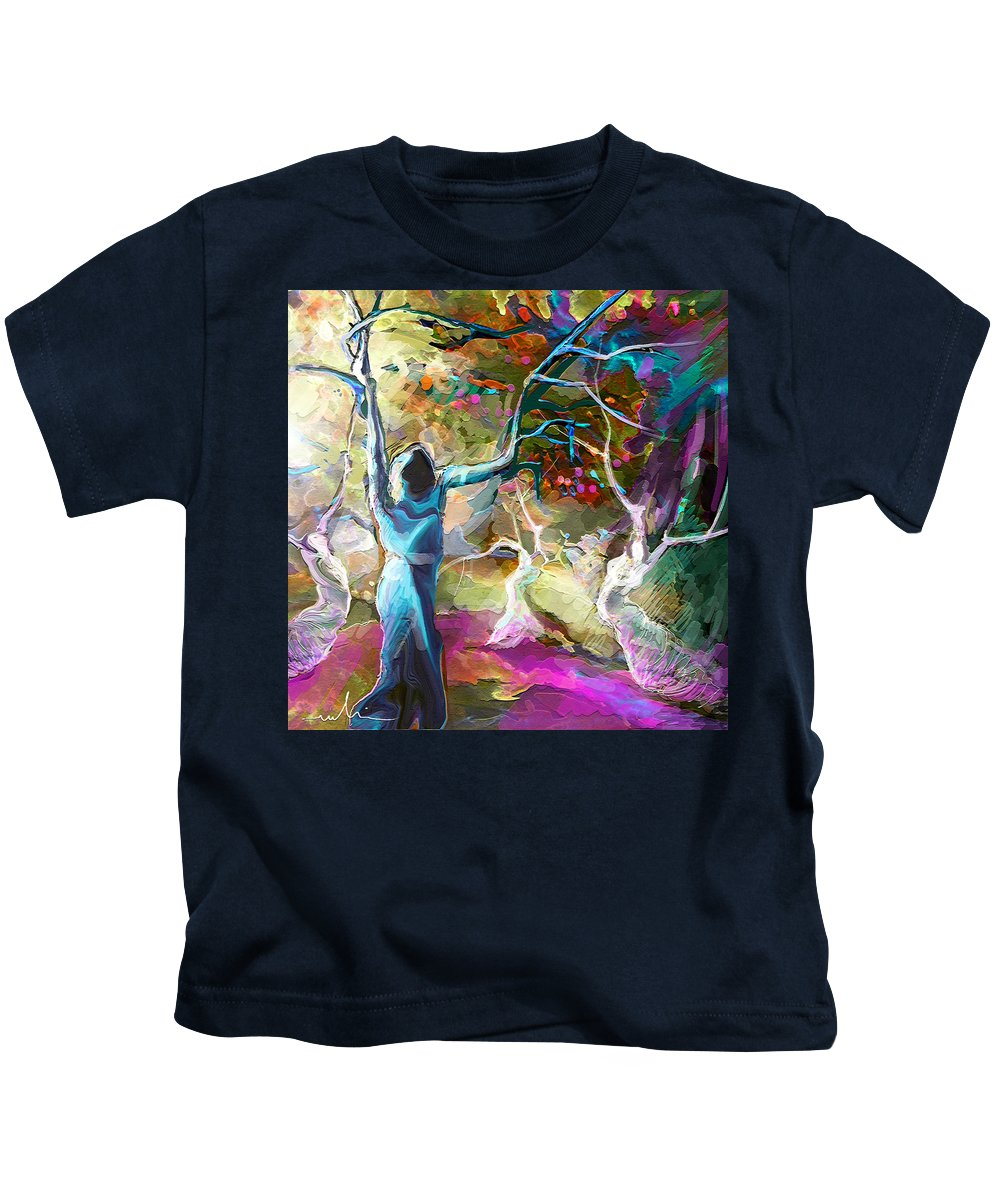 Religious Painting Kids T-Shirt featuring the painting Mary Magdalene And Her Disciples by Miki De Goodaboom
