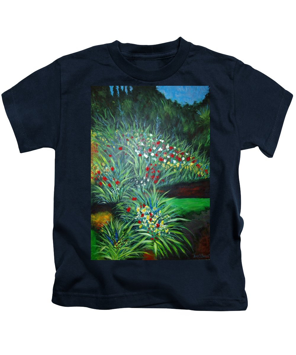 Landscape Kids T-Shirt featuring the painting Maryann's Garden 3 by Nancy Mueller