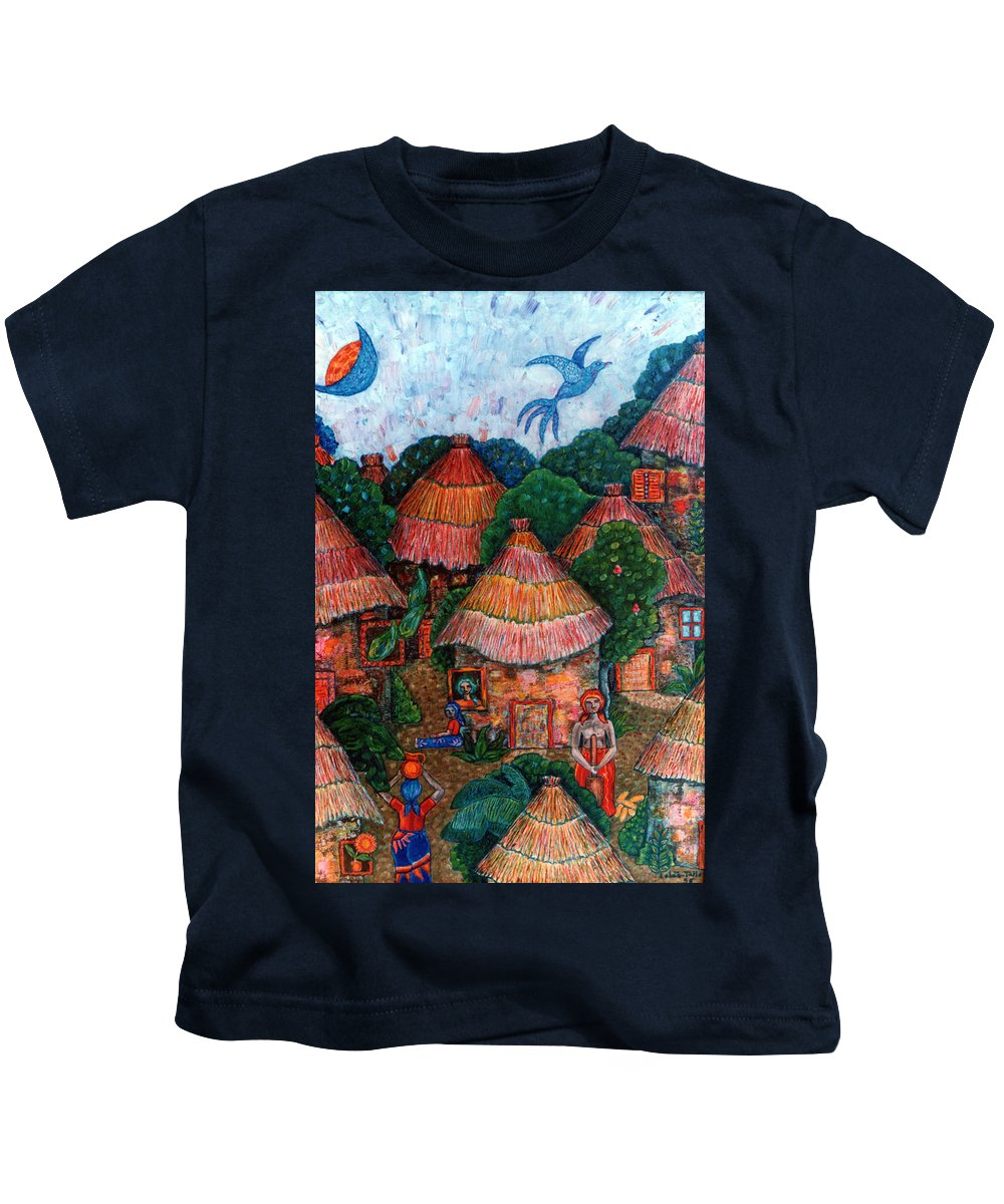Africa Kids T-Shirt featuring the painting Maybe That Was My Country by Madalena Lobao-Tello