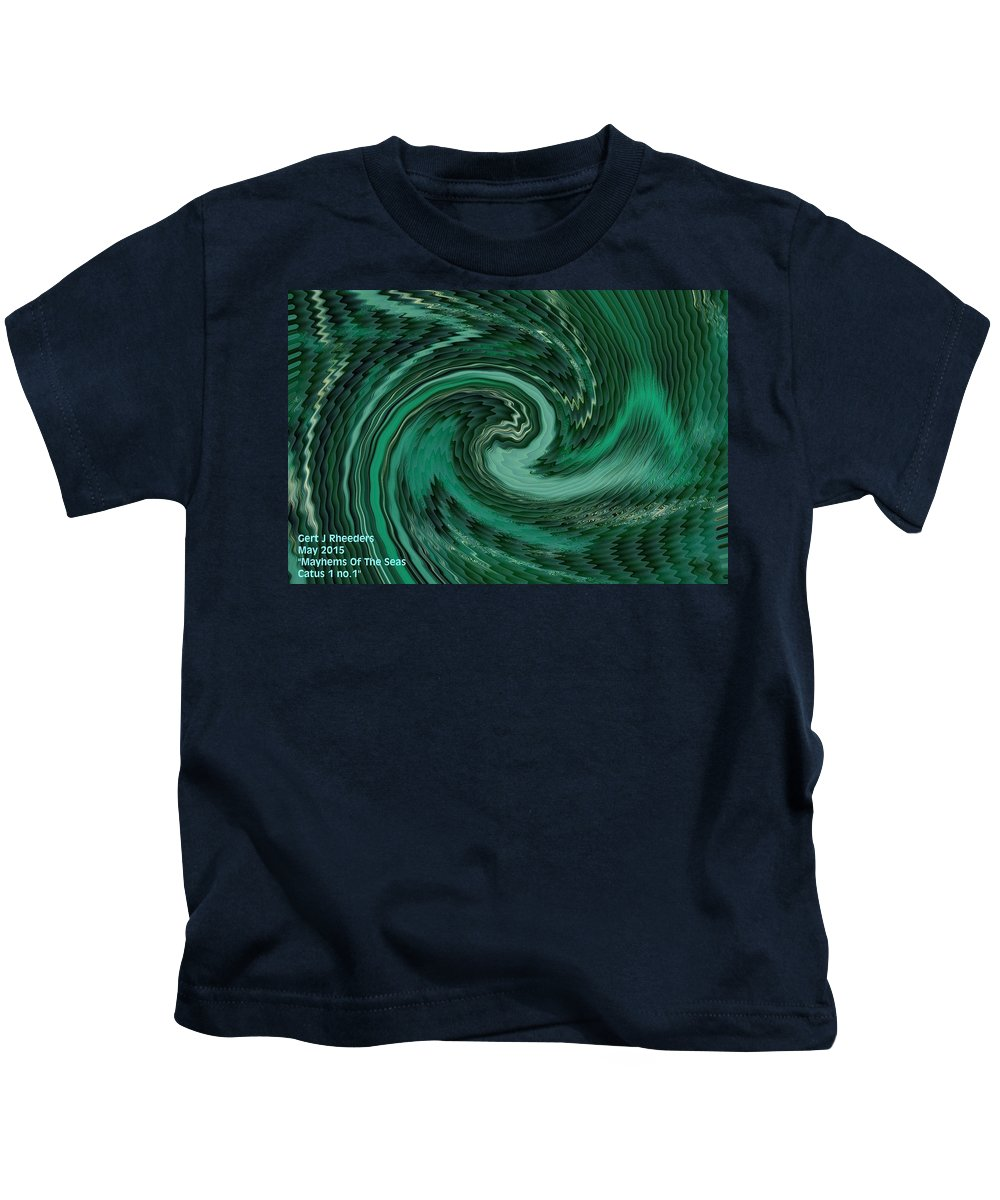 Announcement Kids T-Shirt featuring the painting Mayhems Of The Seas H A by Gert J Rheeders