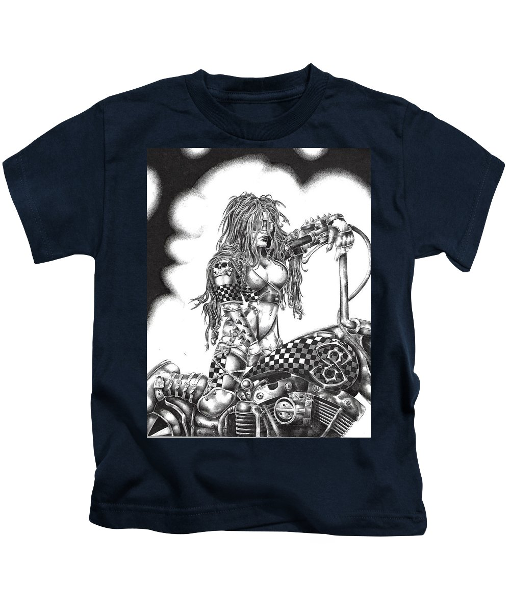 Kids T-Shirt featuring the drawing MC by Lisa Morgan