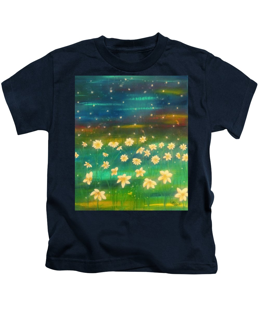 Meadows Kids T-Shirt featuring the painting Meadows And Fireflies by Cynthia McDonald