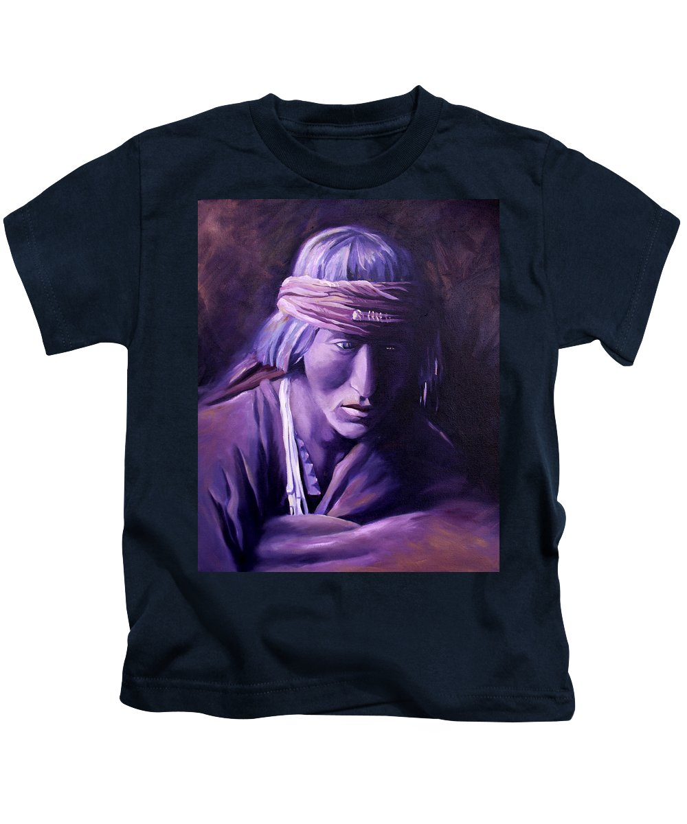 Native American Kids T-Shirt featuring the painting Medicine Man by Nancy Griswold