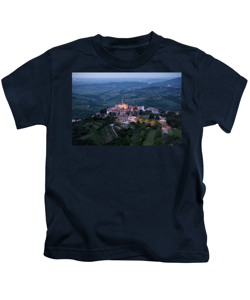 Smartno Kids T-Shirt featuring the photograph Medieval Hilltop Village Of Smartno Brda Slovenia At Dawn In The by Reimar Gaertner