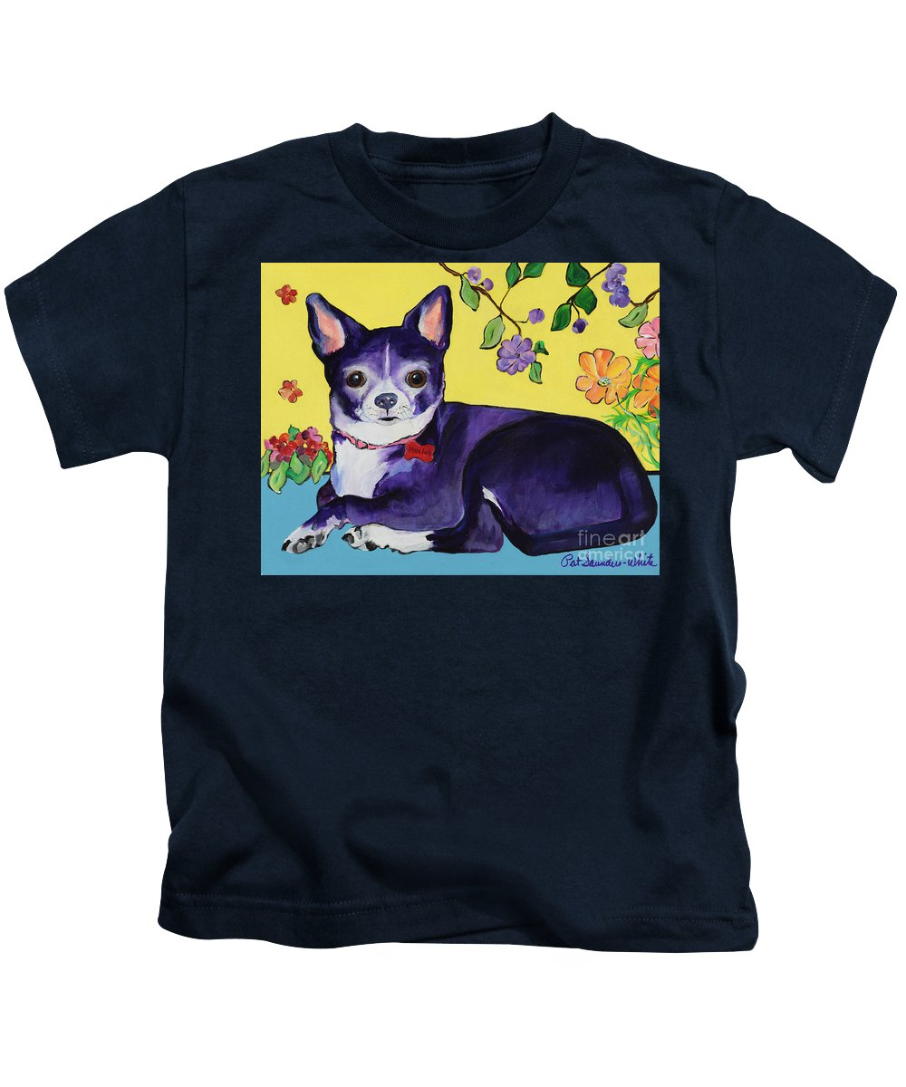 Kids T-Shirt featuring the painting Meelah by Pat Saunders-White