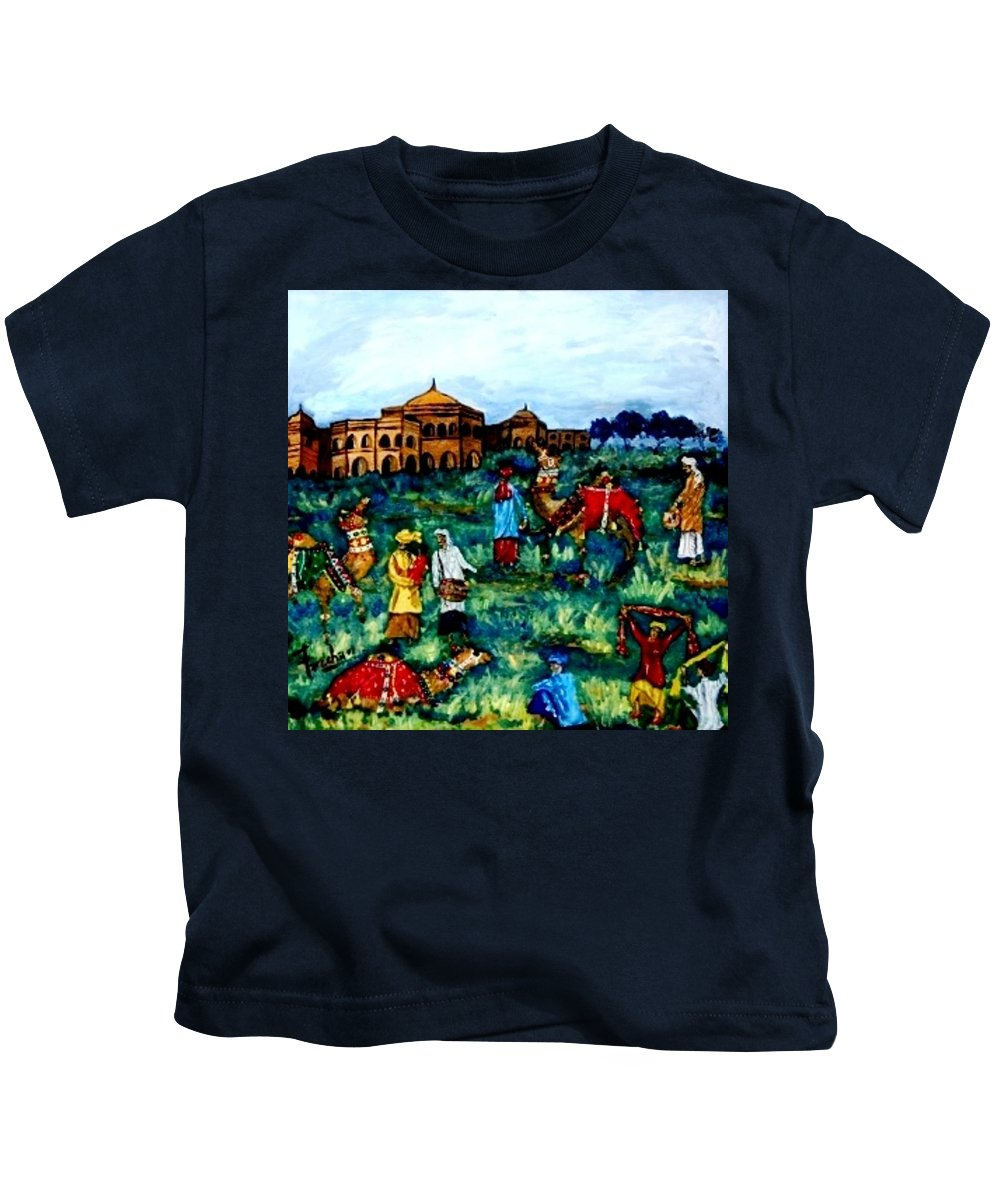 Oil Painting Kids T-Shirt featuring the painting Mela - Carnival by Fareeha Khawaja