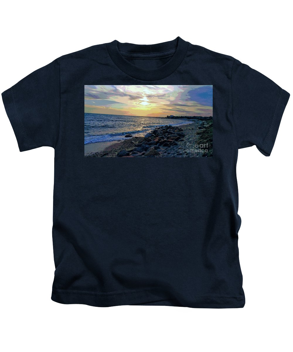 Beach Kids T-Shirt featuring the photograph Menauhant Abstracted Sunset by Christine Chepeleff