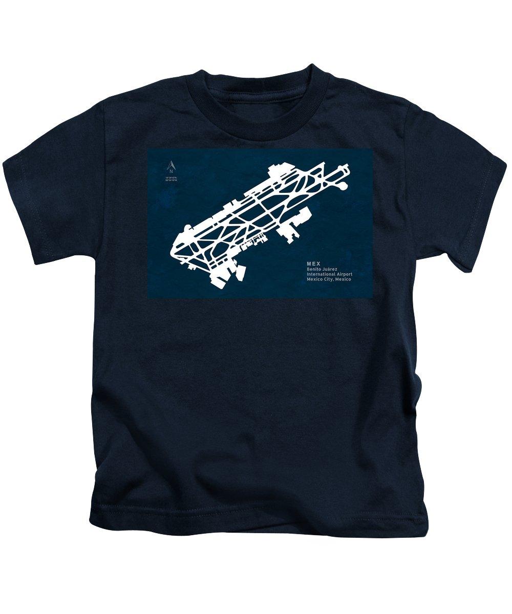 Silhouette Kids T-Shirt featuring the digital art Mex Benito Juarez International Airport Silhouette In Blue by Jurq Studio