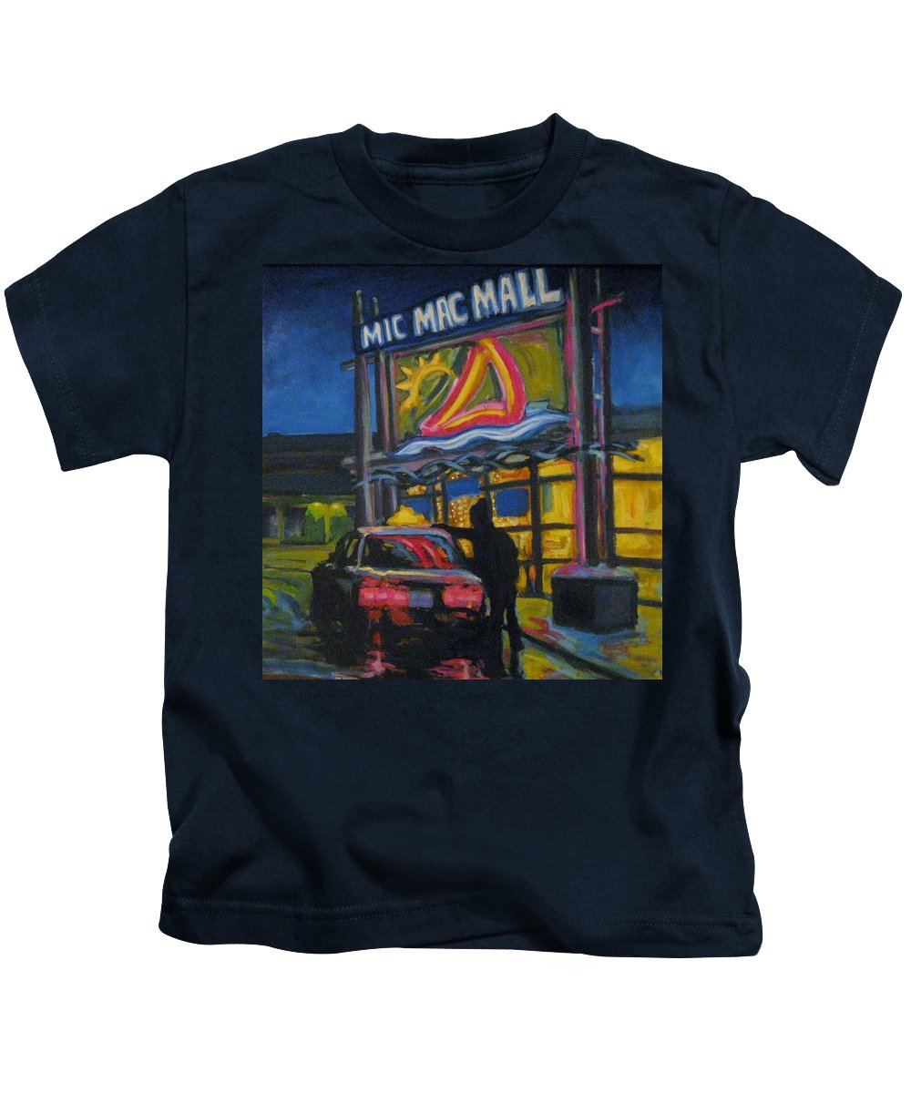Retail Kids T-Shirt featuring the painting Mic Mac Mall Spectre Of The Next Great Depression by John Malone