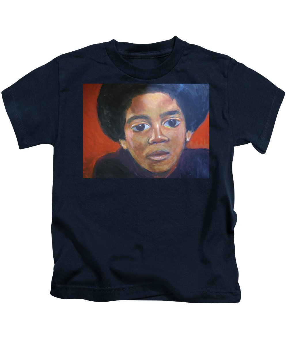 Michael Jackson Kids T-Shirt featuring the painting Michael Jackson by Jan Gilmore