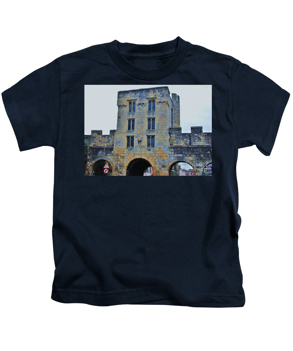 Medieval Architecture York England Historic Building Travel Castle Destination Arches World Heritage Site Windows Iconic Vision Ancient Stones Whimsical Modern Traffic Signs Outdoors Tourism Landmark Royal Shield Stone Walls Collectible Canvas Print Suggested Metal Frame Poster Print Available On Tote Bags T Shirts Throw Pillows Duvet Covers Shower Curtains Pouches Weekender Tote Bags And Phone Cases Kids T-Shirt featuring the photograph Mickelgate Bar, York by Poet's Eye