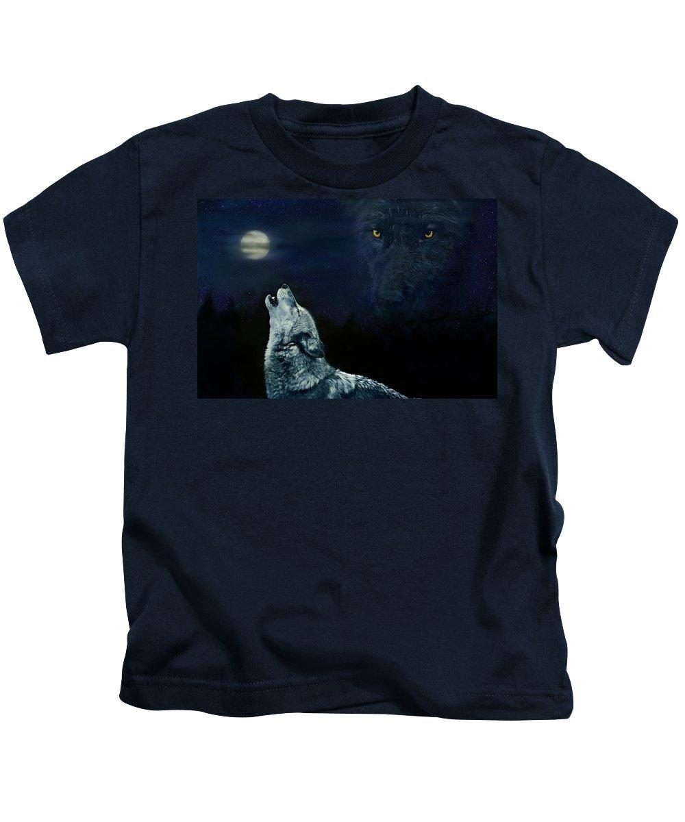 Animal Kids T-Shirt featuring the digital art Midnight Communion by John Christopher