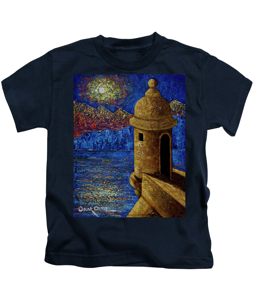 El Morro Kids T-Shirt featuring the painting Midnight Mirage in San Juan by Oscar Ortiz