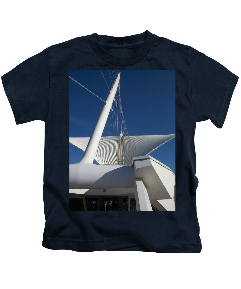 Mam Kids T-Shirt featuring the photograph Milwaukee Art Museum Cropped by Anita Burgermeister