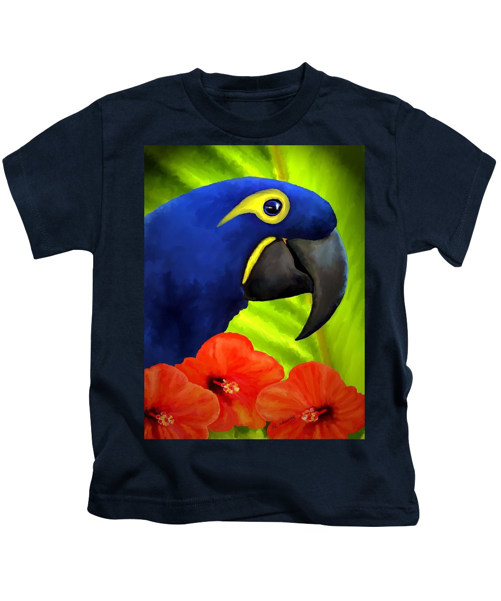 Hyacinth Macaw Kids T-Shirt featuring the painting Mimi by David Wagner