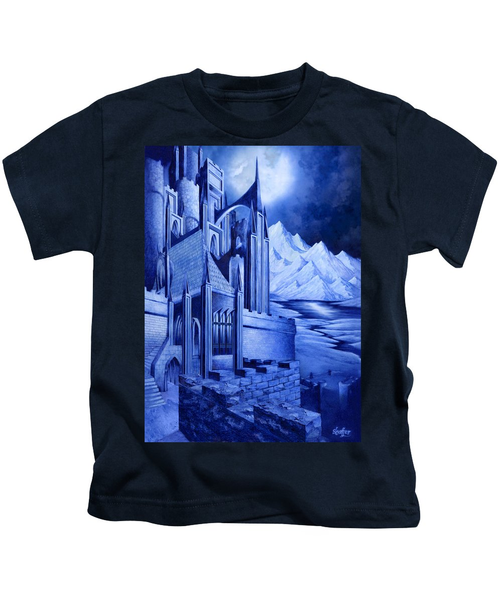 Lord Of The Rings Kids T-Shirt featuring the mixed media Minas Tirith by Curtiss Shaffer
