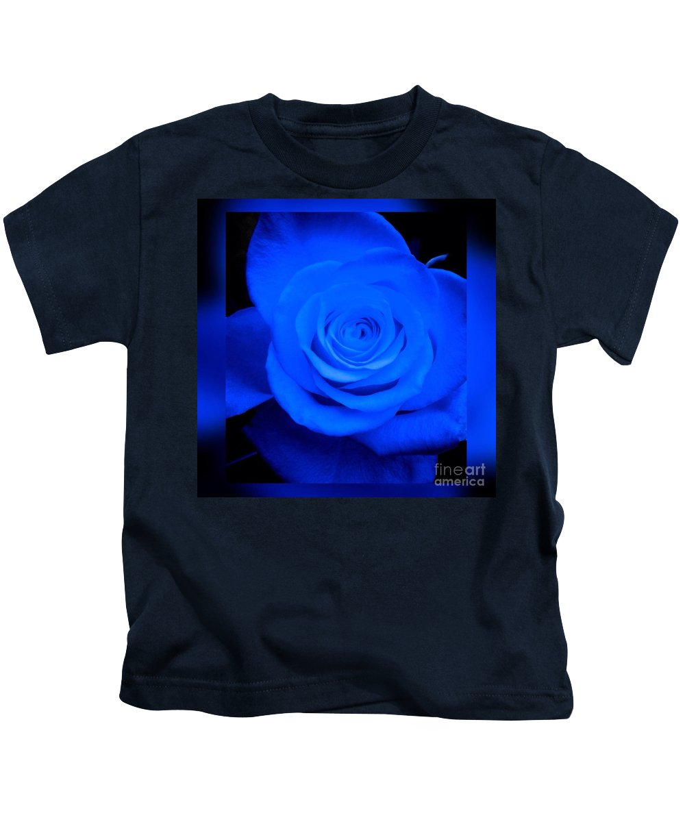 Blue Rose Kids T-Shirt featuring the photograph Misty Blue Rose by Joan-Violet Stretch