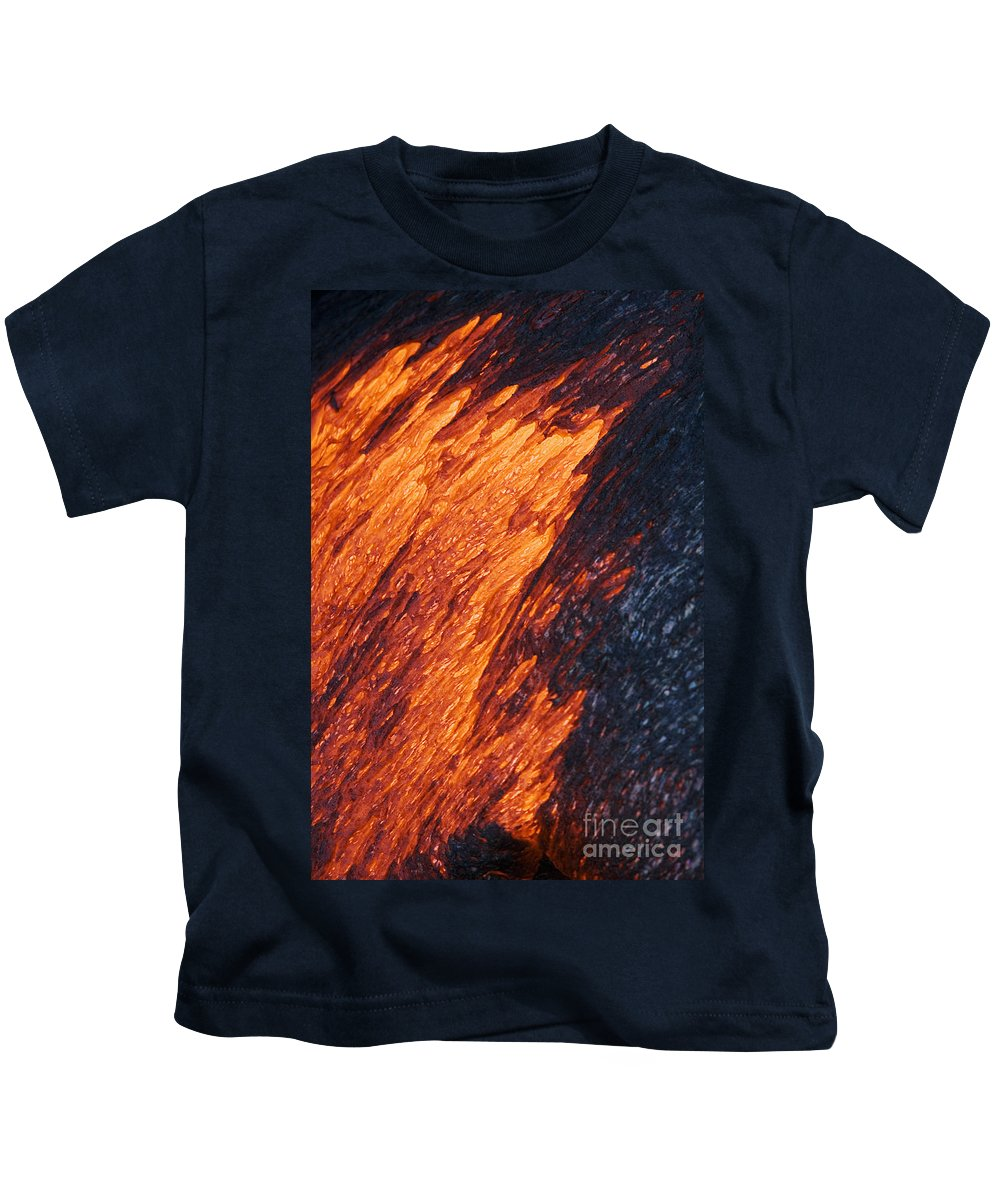 Active Kids T-Shirt featuring the photograph Molten Pahoehoe Lava by Ron Dahlquist - Printscapes