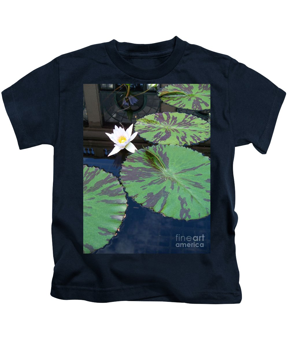 Photograph Kids T-Shirt featuring the photograph Monet Lilies White by Eric Schiabor