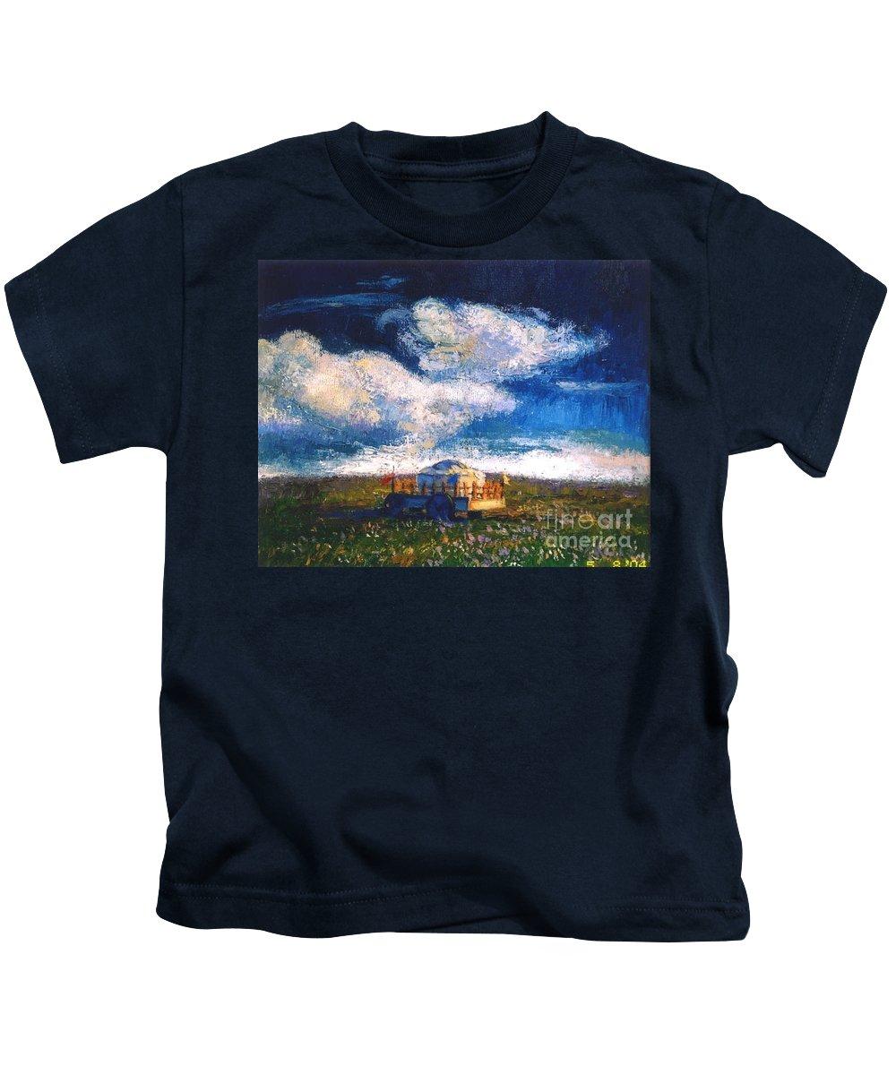 Momgolian Kids T-Shirt featuring the painting Mongolian Home by Meihua Lu