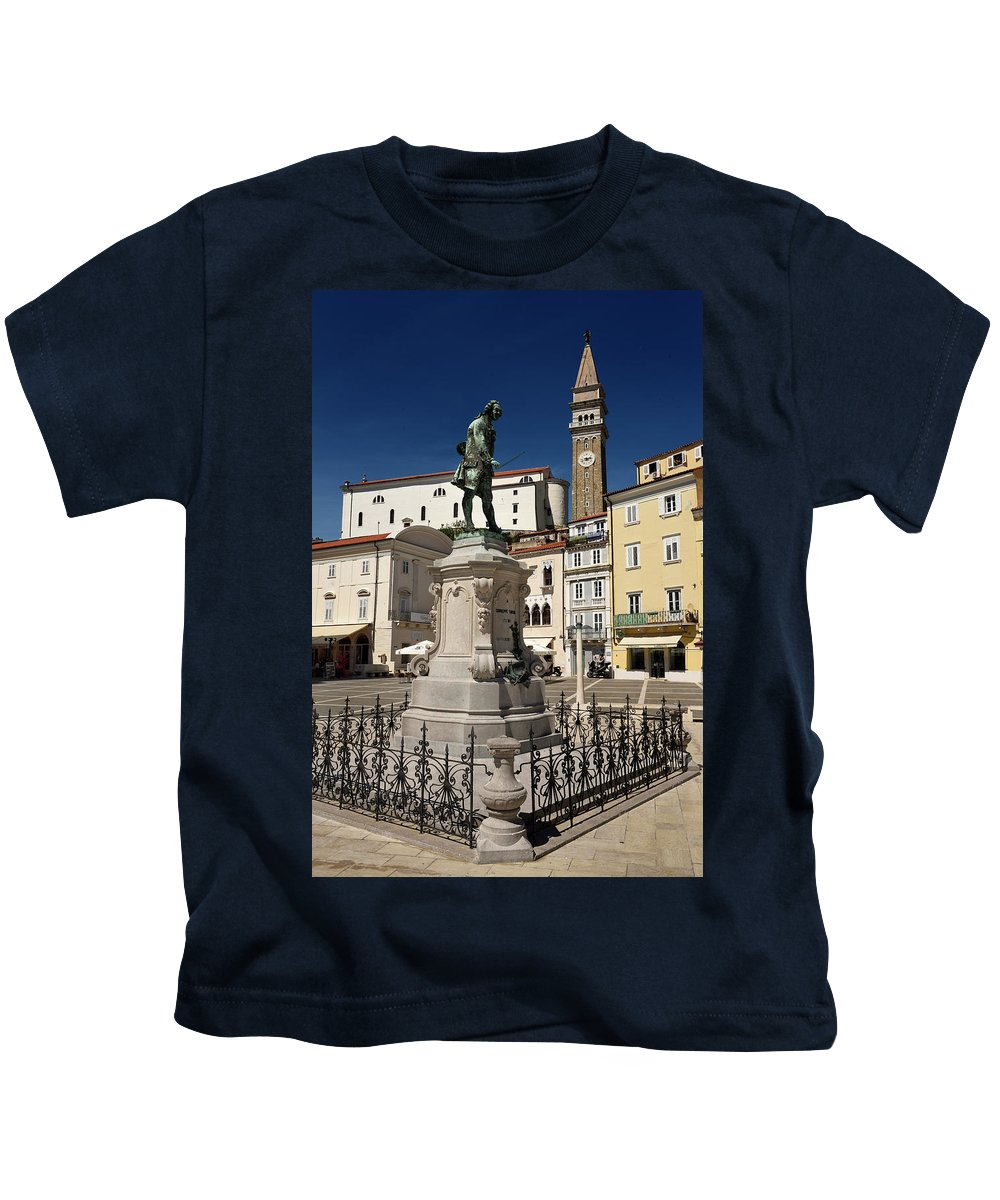 St. George's Kids T-Shirt featuring the photograph Monument And Statue Of Giuseppe Tartini At Tartini Square Piran by Reimar Gaertner