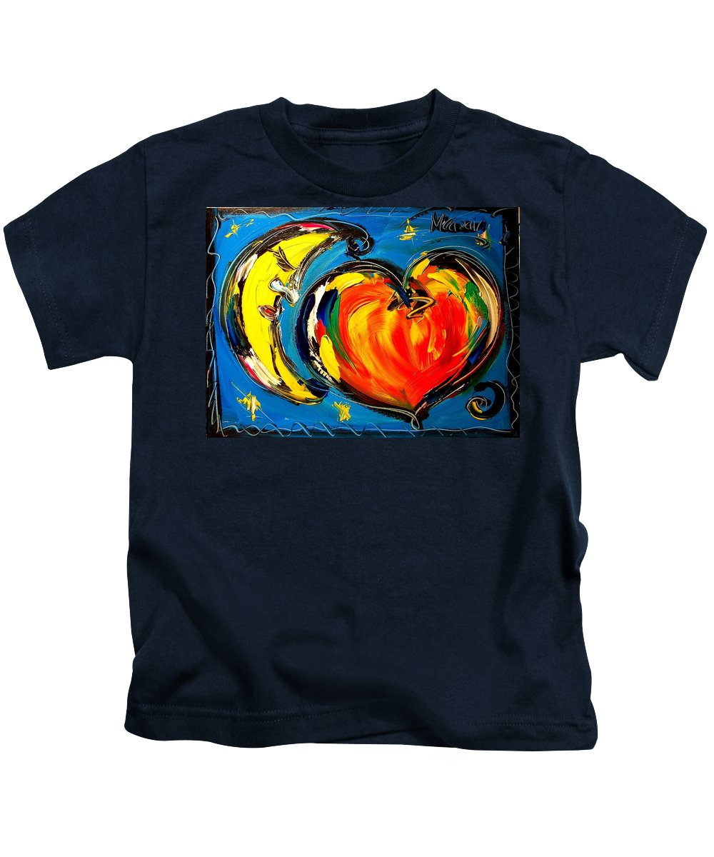 Red Poppies Kids T-Shirt featuring the painting Moon by Mark Kazav