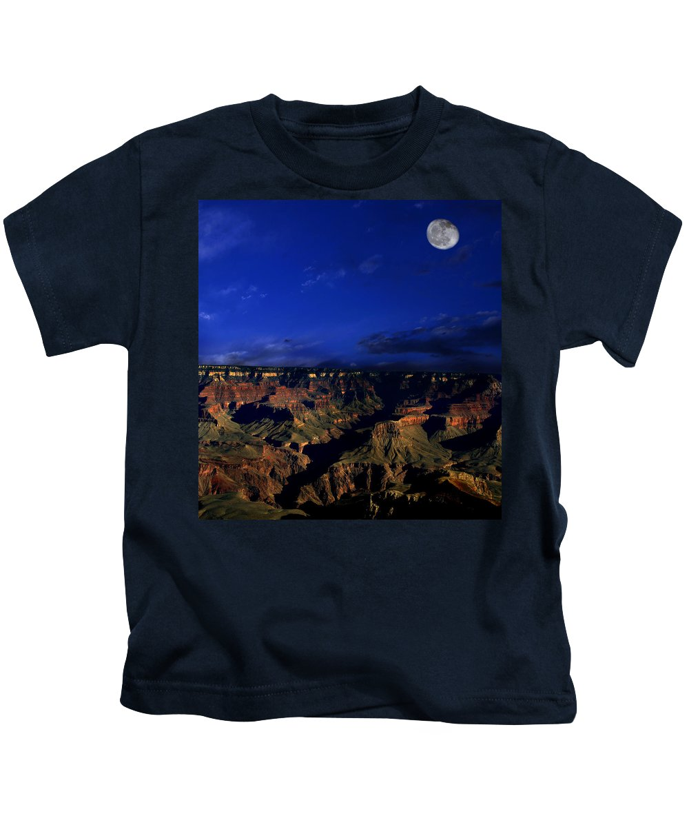 Grand Canyon Kids T-Shirt featuring the photograph Moon Over The Canyon by Anthony Jones
