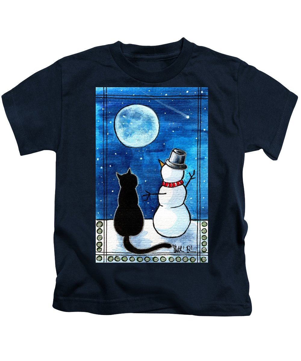 Moon Watching With Snowman Kids T-Shirt featuring the painting Moon Watching With Snowman - Christmas Cat by Dora Hathazi Mendes