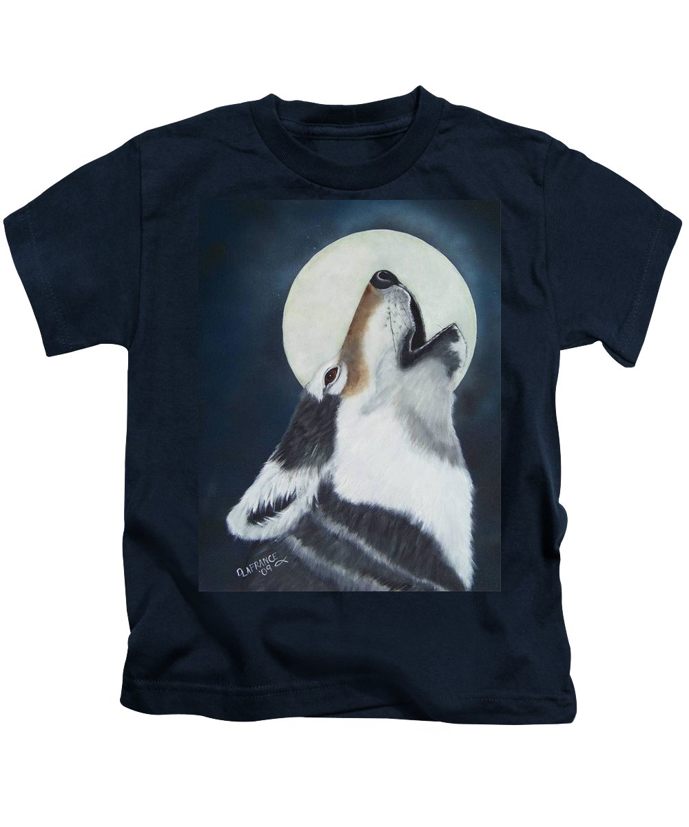 Moon Kids T-Shirt featuring the painting Moon Wolf by Debbie LaFrance