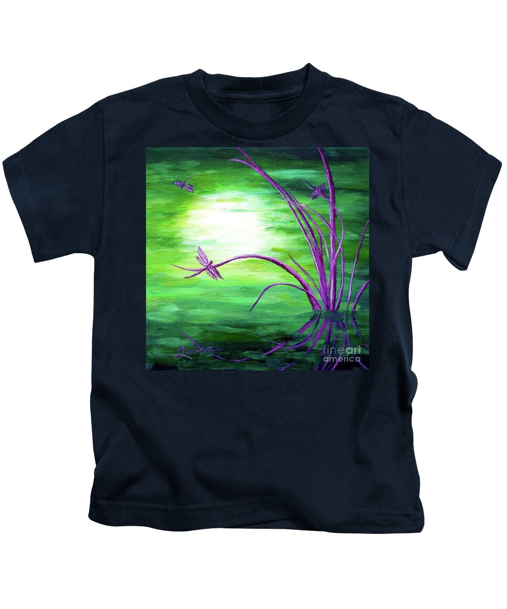Zen Kids T-Shirt featuring the painting Moonlight On Green Water by Laura Iverson