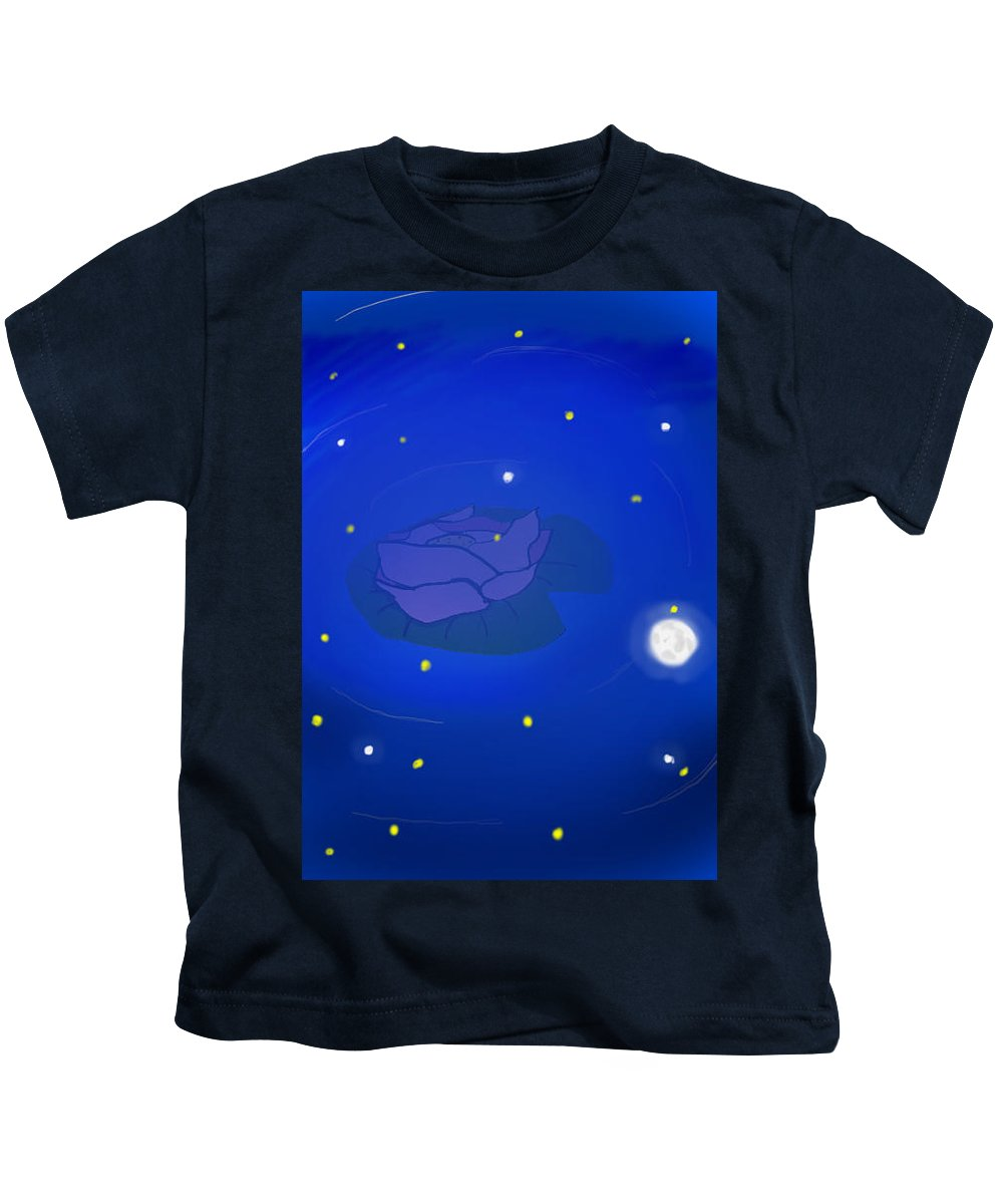 Rose In Water Kids T-Shirt featuring the drawing Moonlight by Sofia Lechado