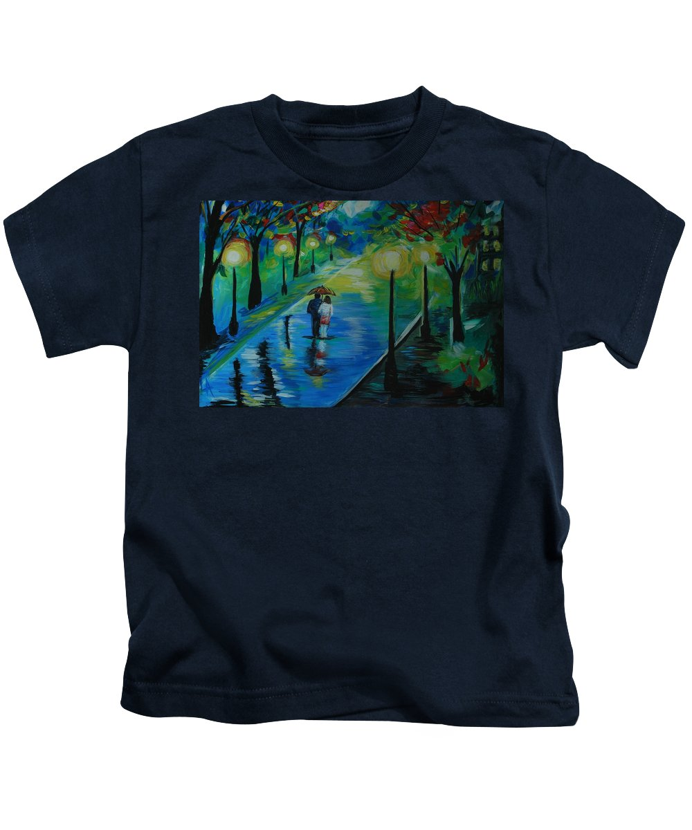 Couple Kids T-Shirt featuring the painting Moonlight Stroll by Leslie Allen