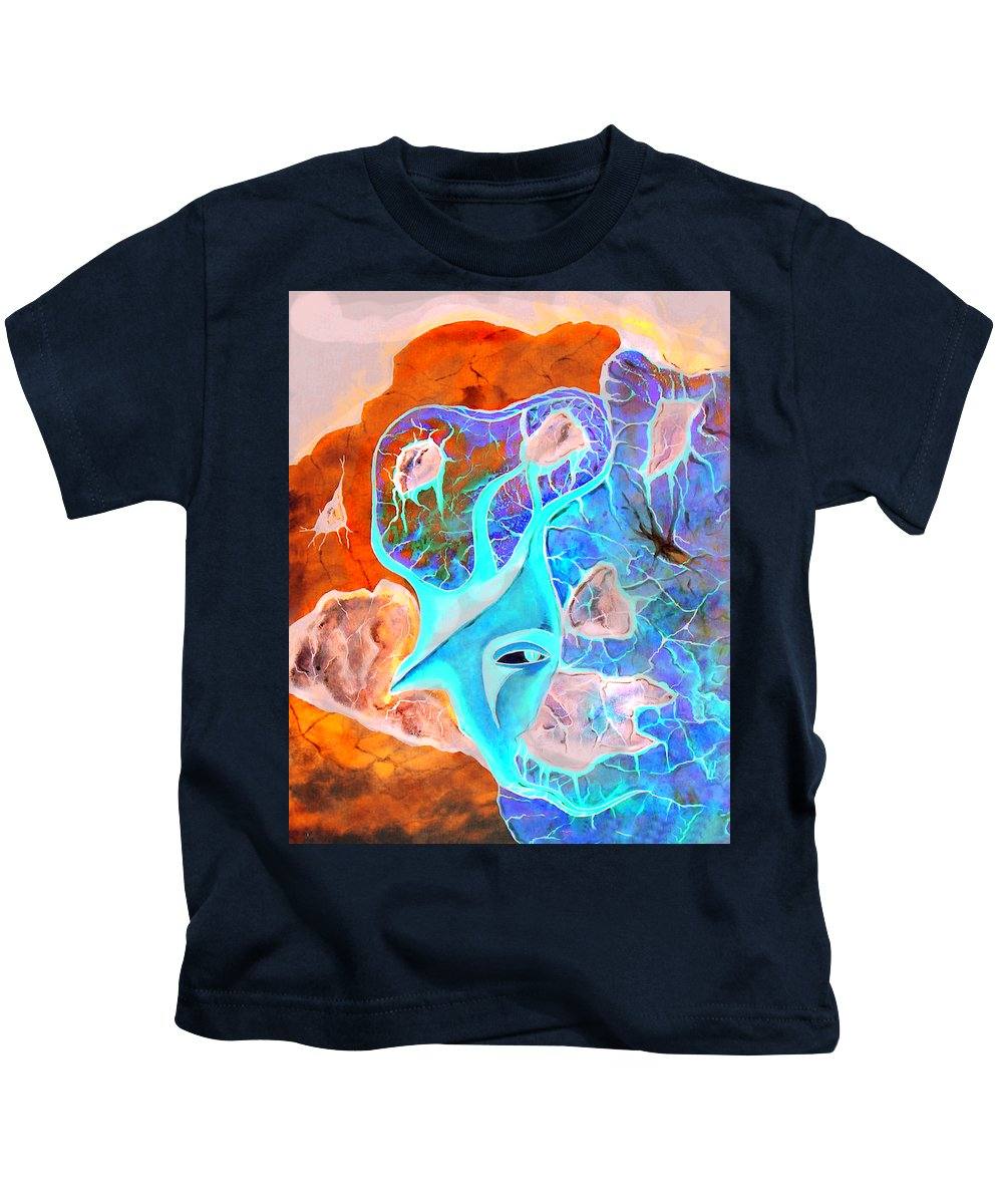 Surrealism Color Sky Haven Stones Kids T-Shirt featuring the painting More Seconds In My Head by Veronica Jackson
